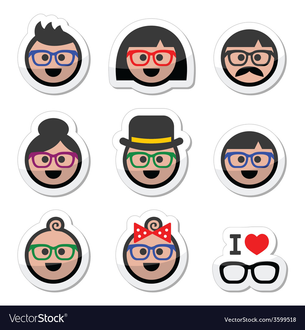 People wearing glasses geek labels set vector