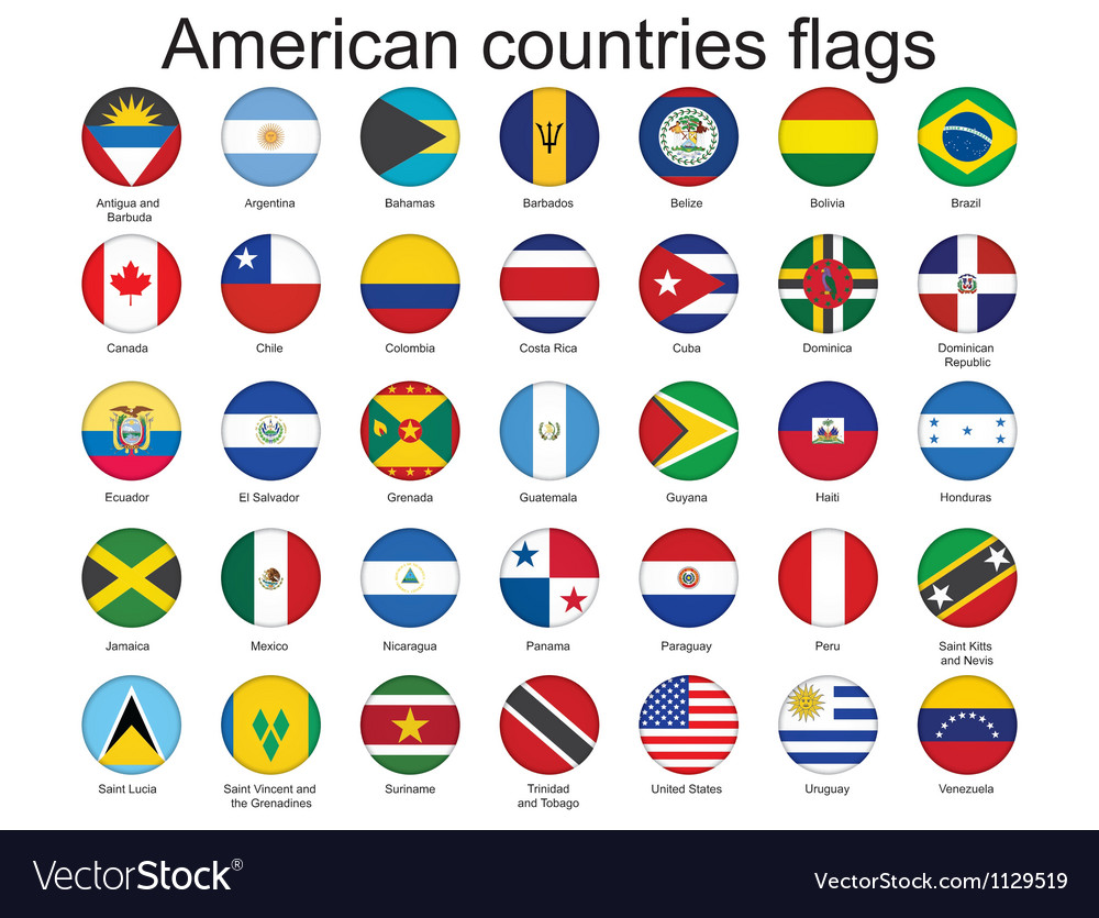 American countries flags vector