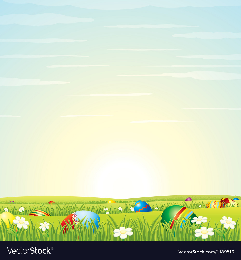 Easter background eggs in green grass vector