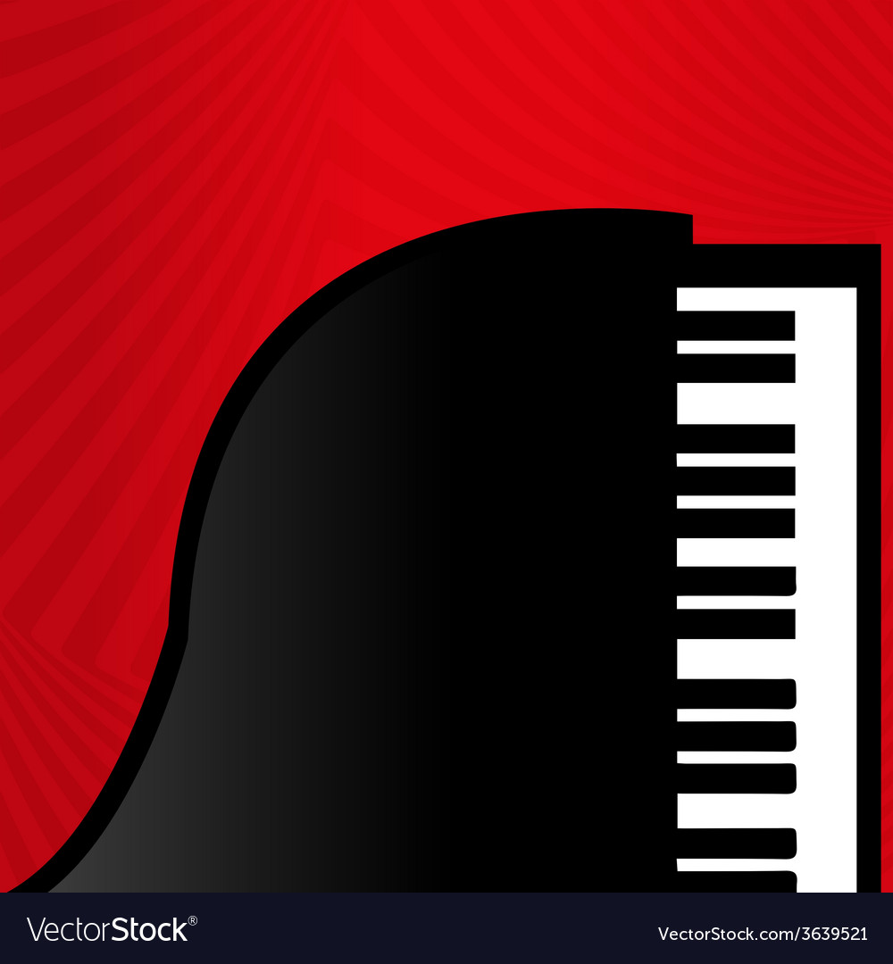 Piano on a red background vector