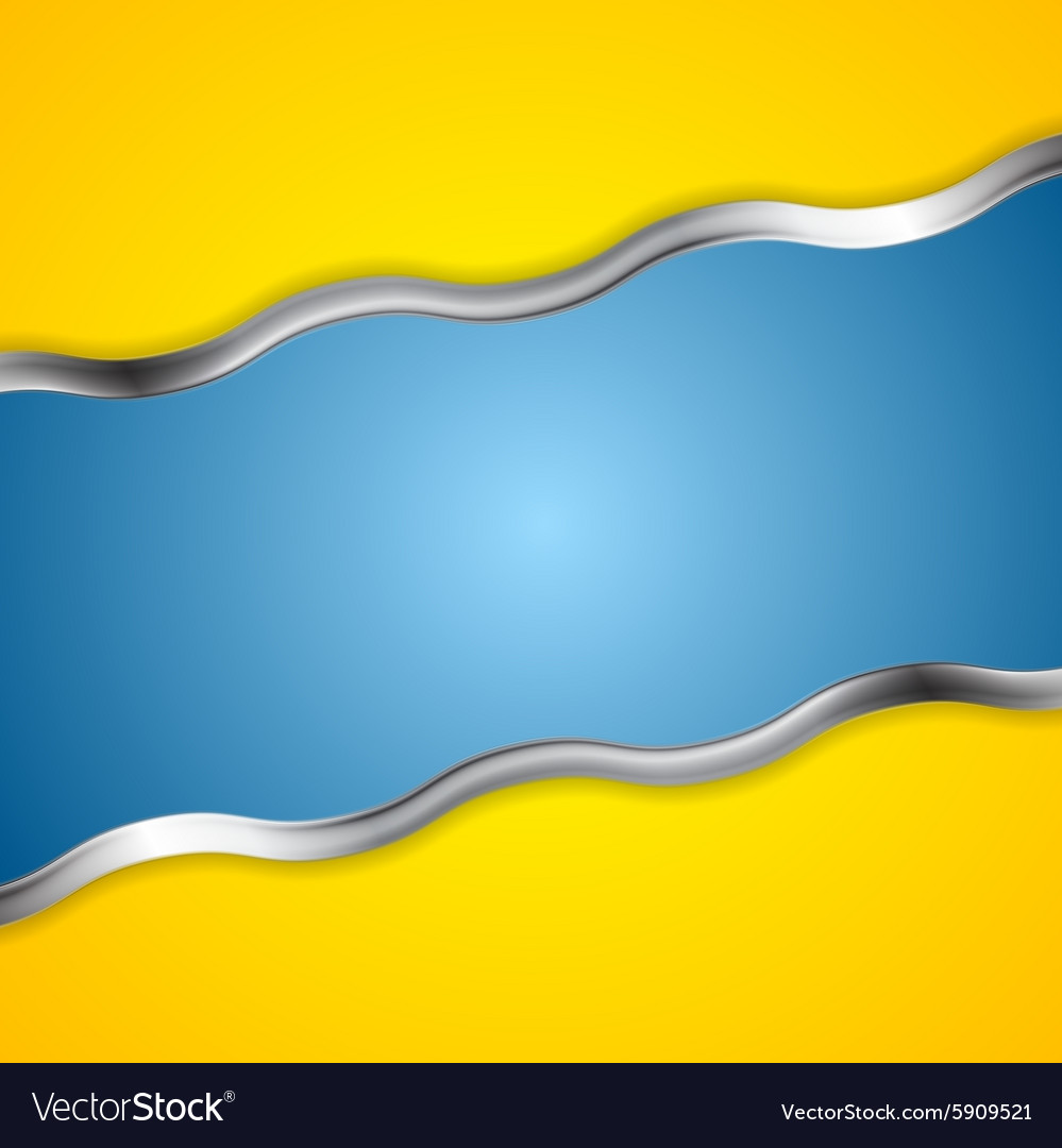 Yellow blue contrast background with metal waves vector