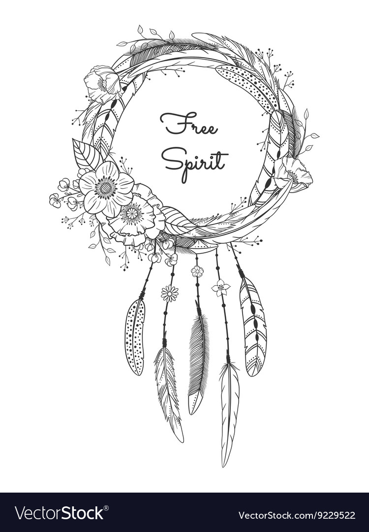 Dreamcatcher with feathers and flowers vector