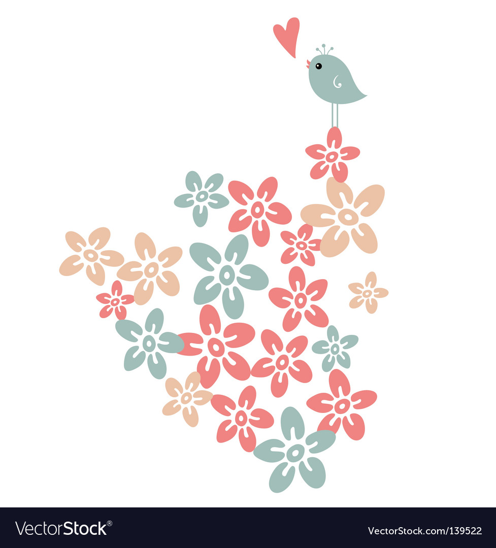 Flower and bird vector