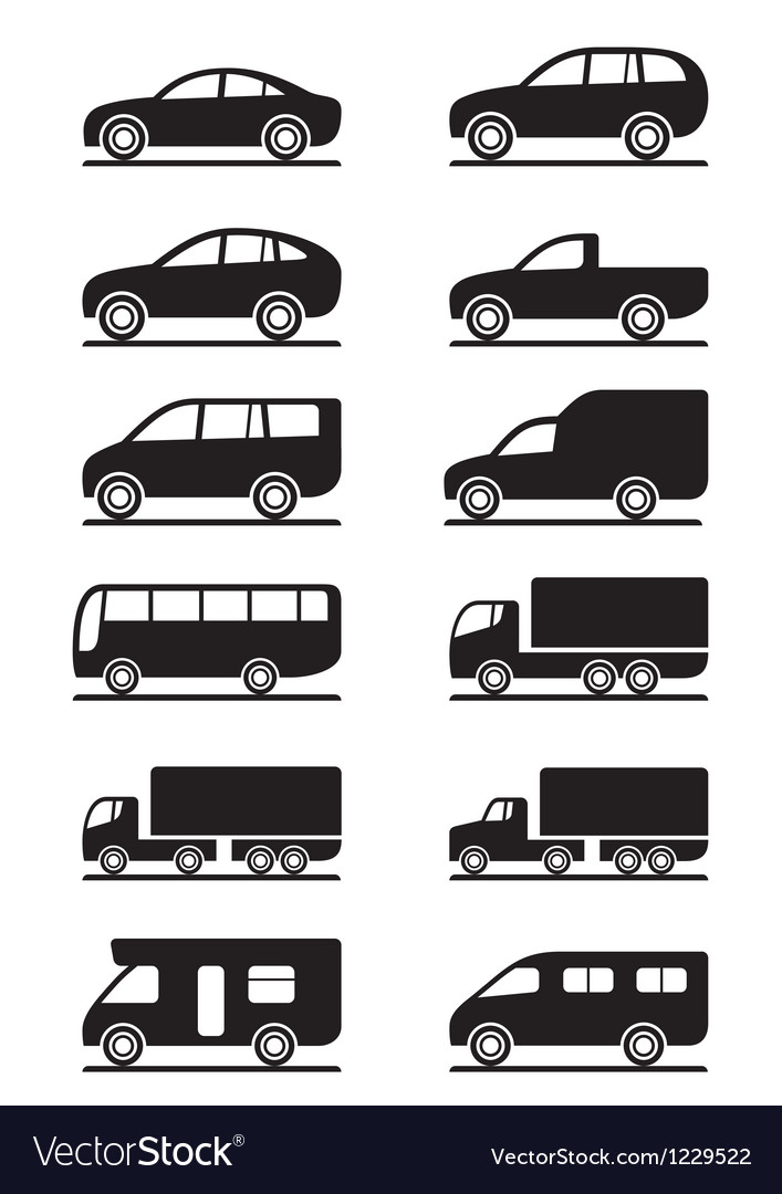 Road transportation icons set vector