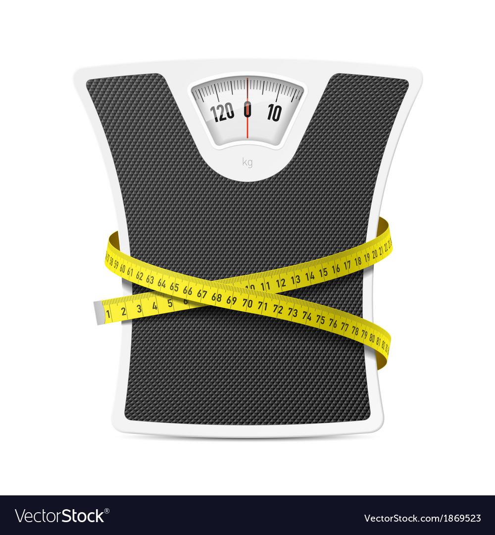 Bathroom scale with measuring tape vector