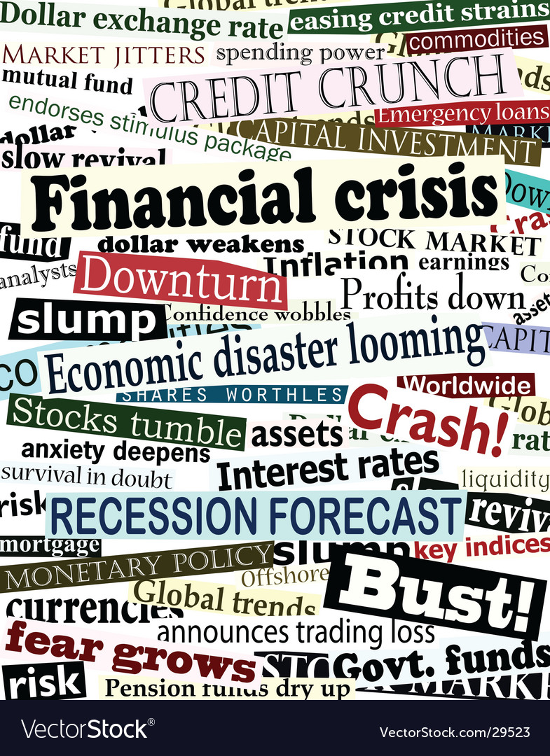 Financial crisis headlines vector