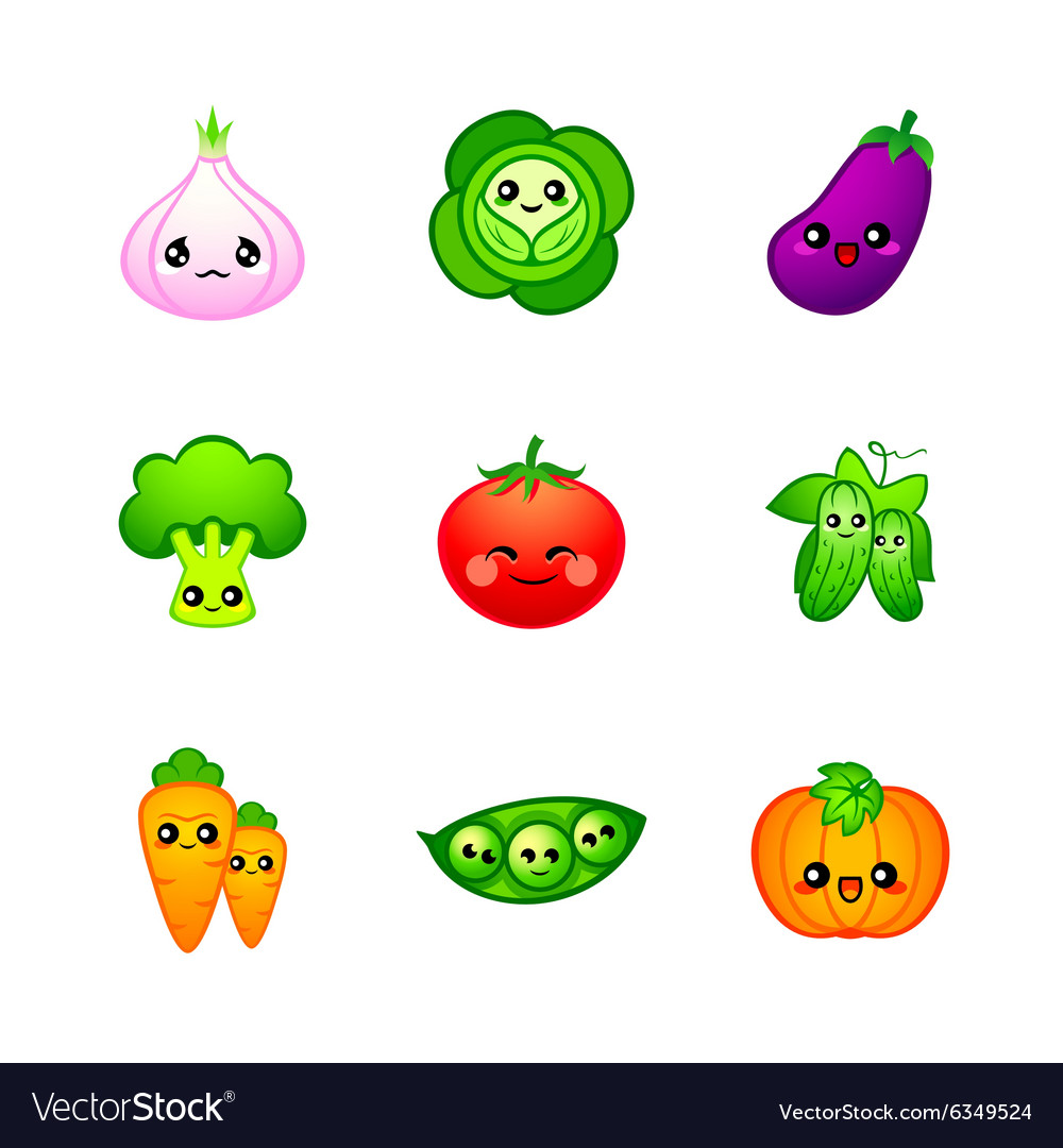 Cute vegetables vector