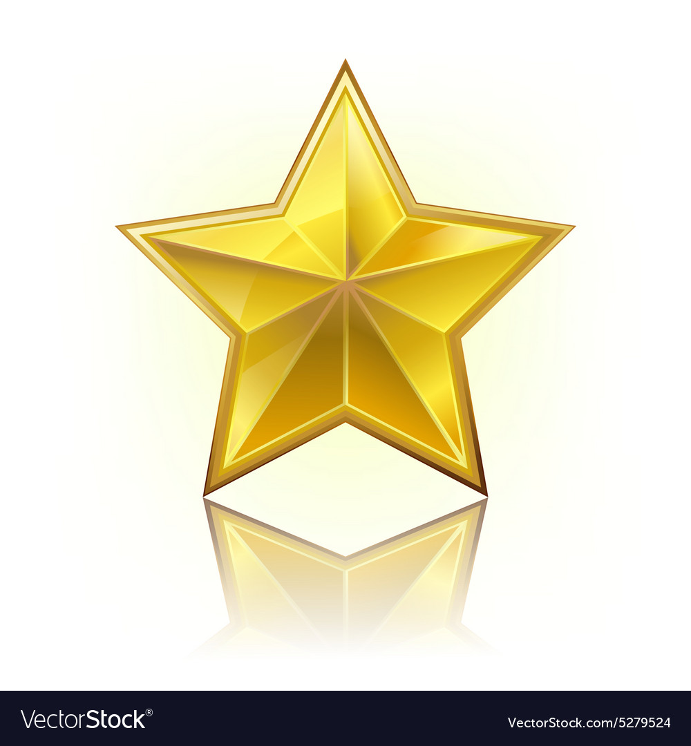 Gold five star vector