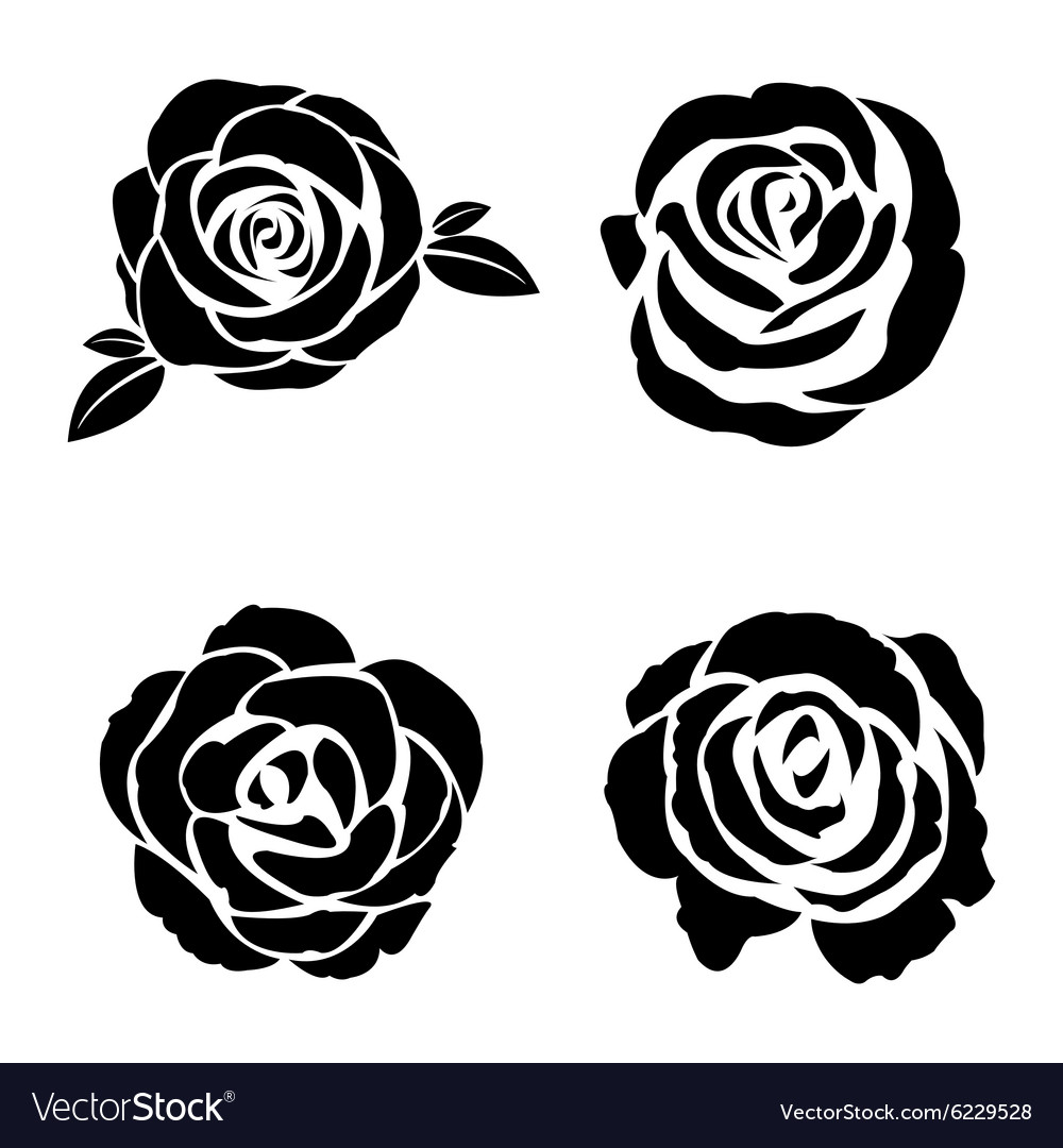 Black silhouette of rose set vector