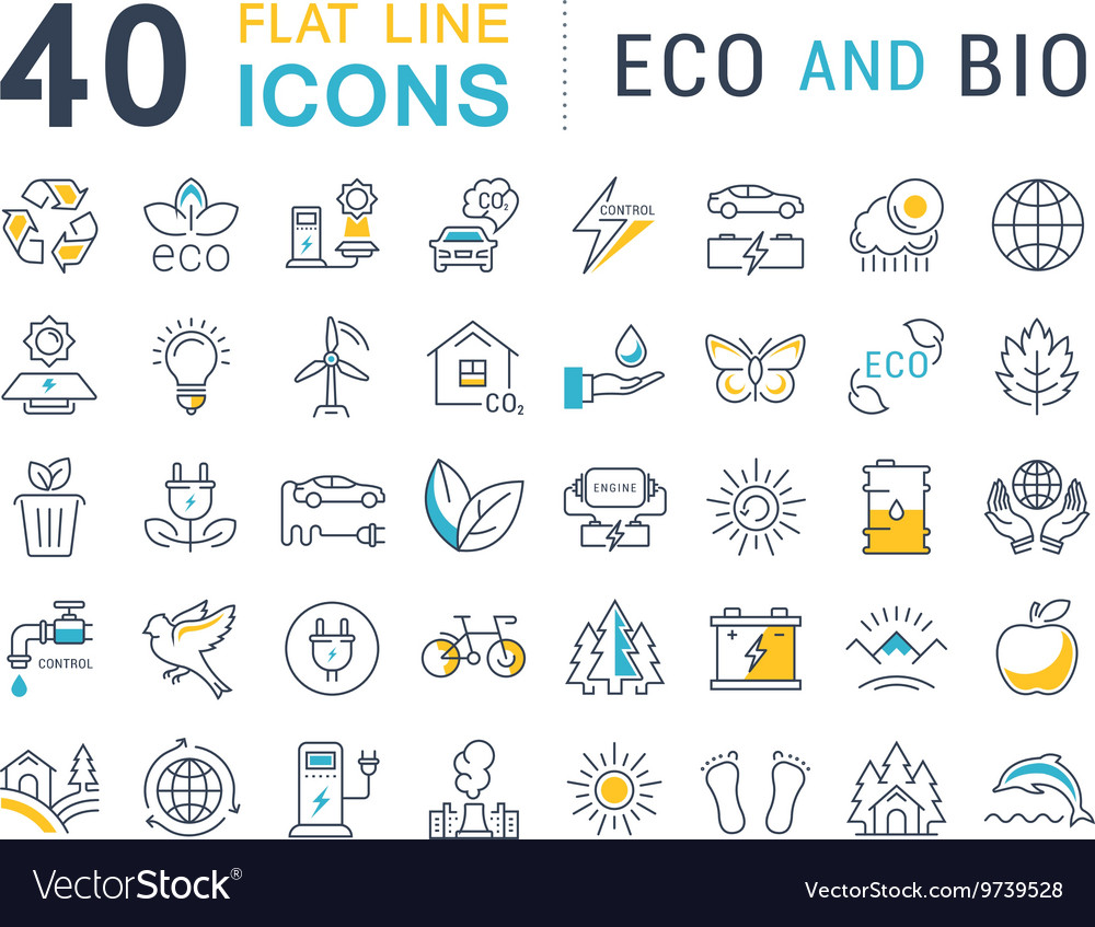 Set flat line icons eco and bio vector