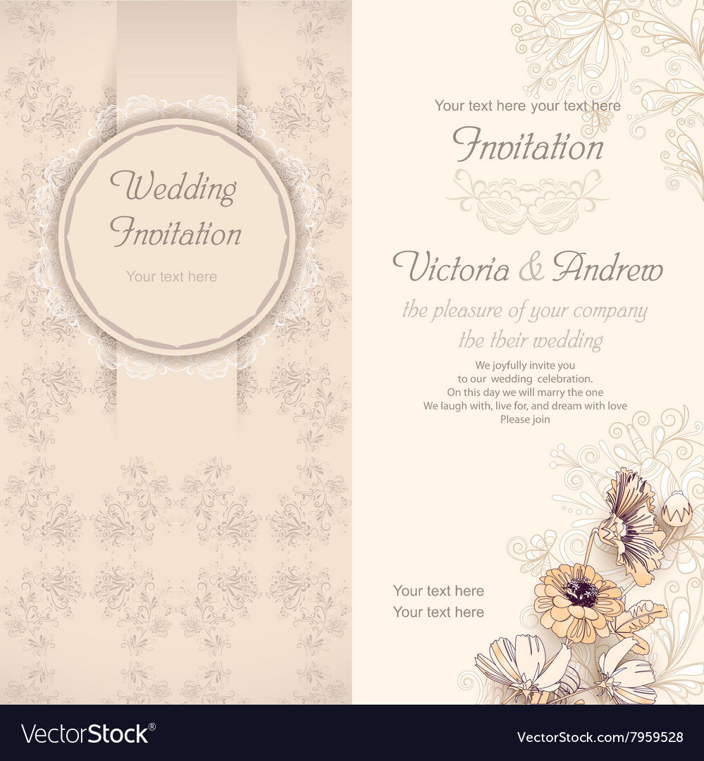 Wedding invitation template beige vector