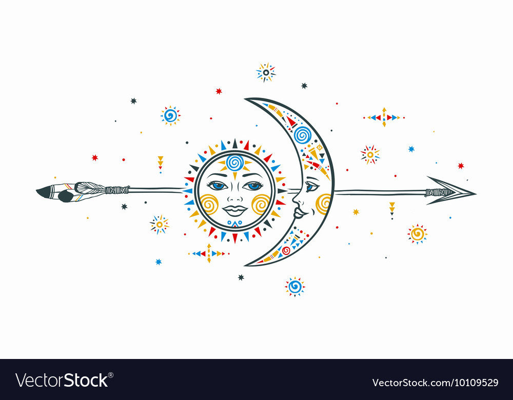 Bohemian sun moon arrow vector