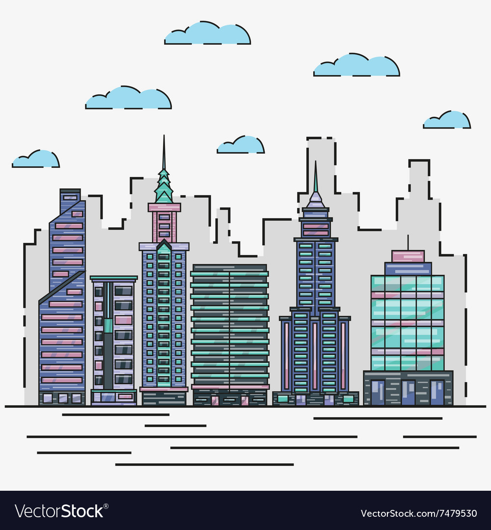 City architecture skyline in vector