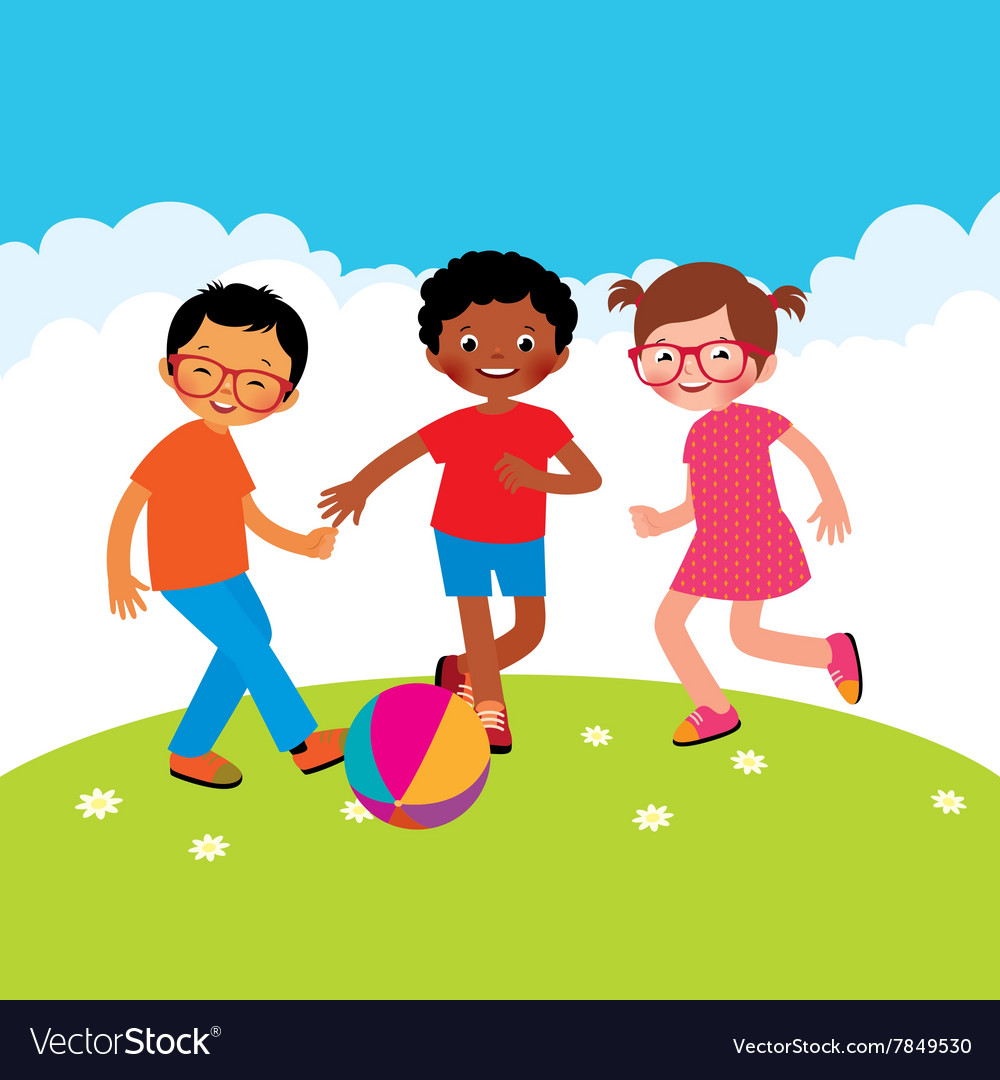Group of kids playing with a ball vector