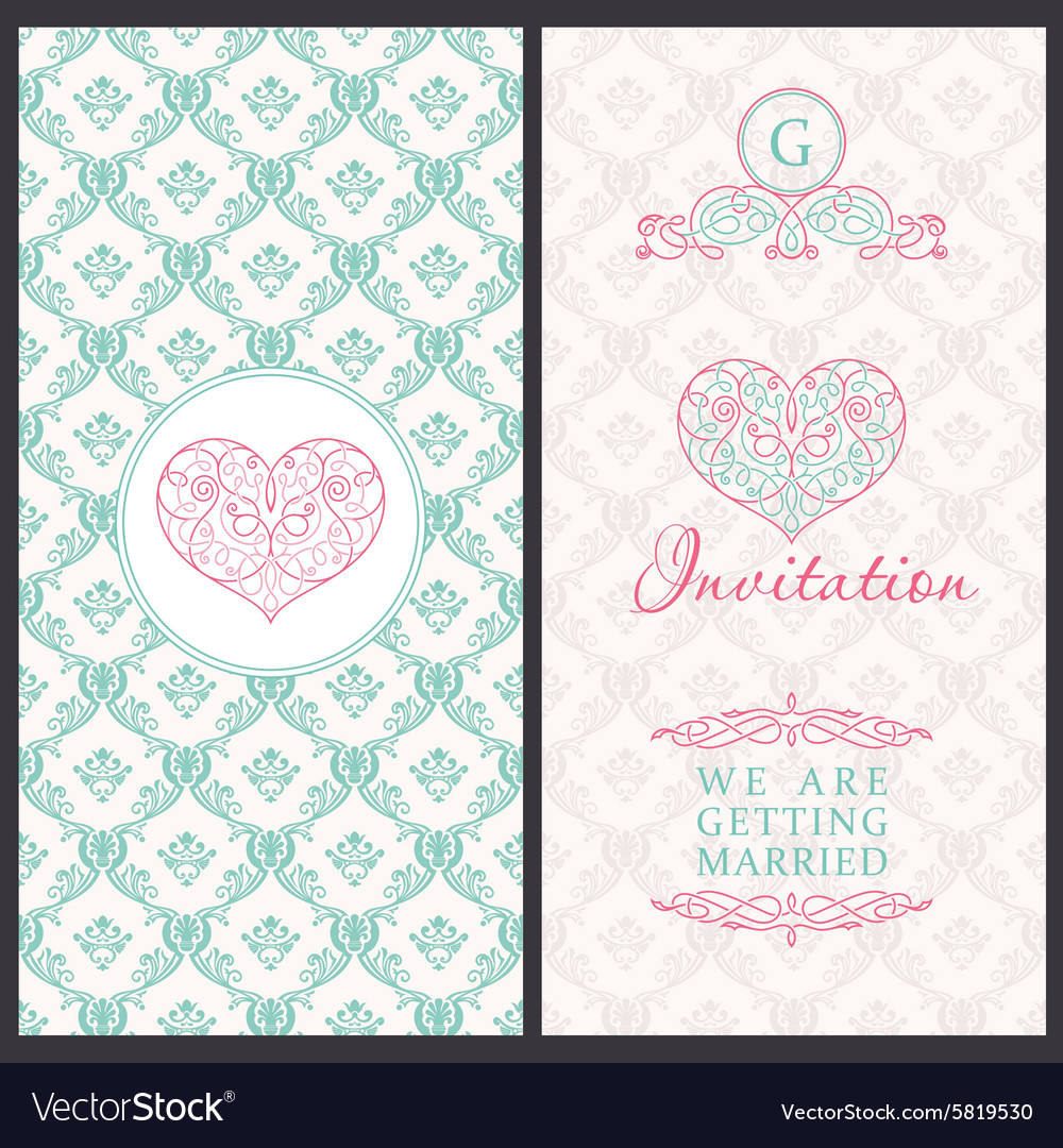 Vintage card templates wedding married vector