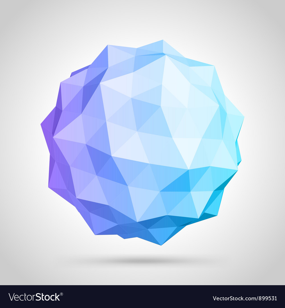 Abstract 3d origami sphere vector