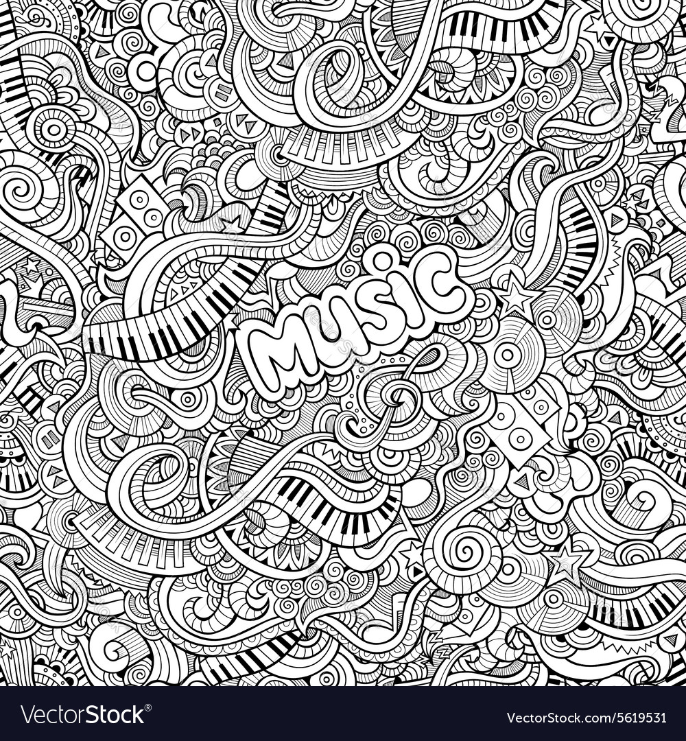 Cartoon doodles music seamless pattern vector
