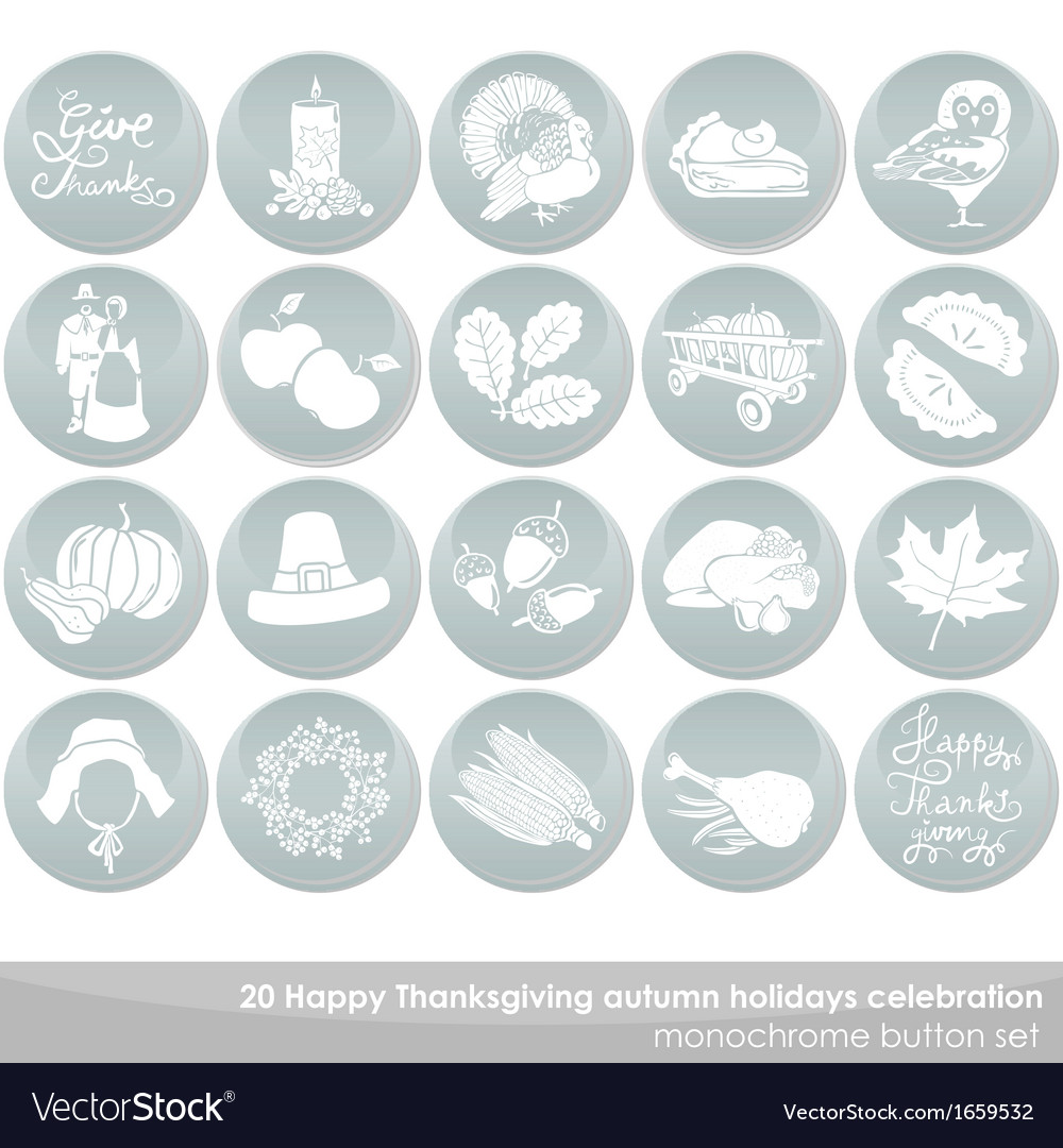 Thanksgiving icon set vector