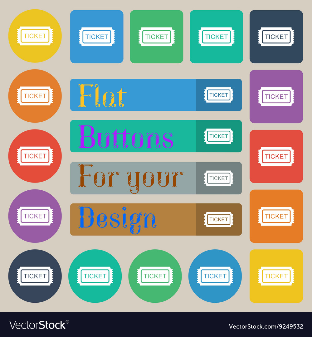 Ticket icon sign set of twenty colored flat round vector