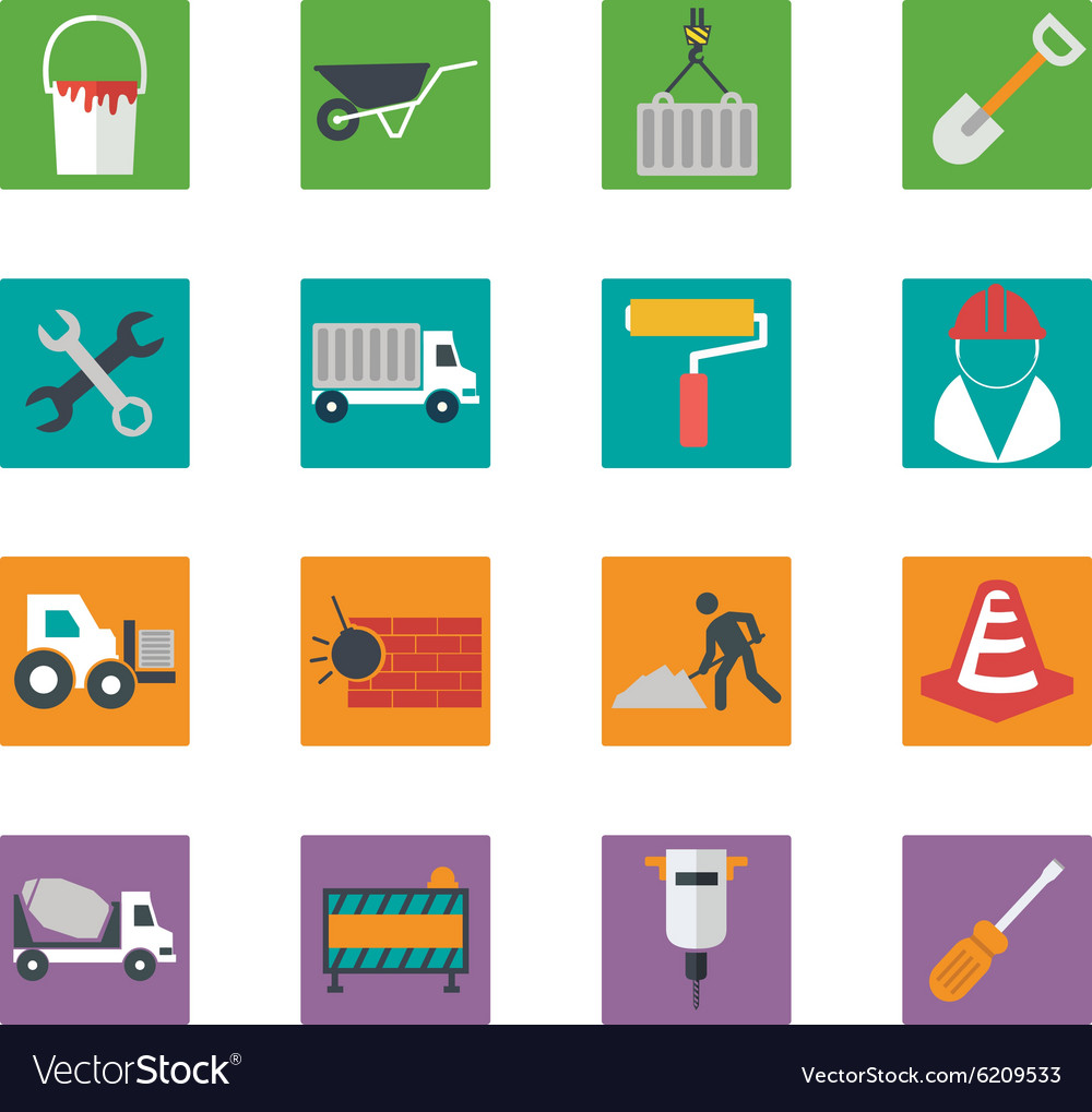 Construction icons set eps10 vector