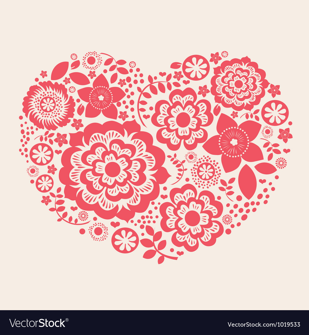 Red flower heart vector