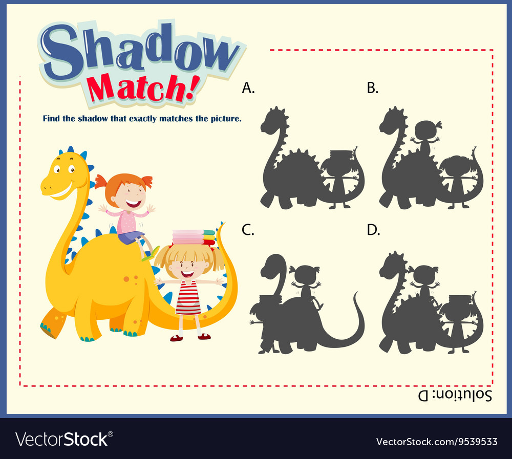 Shadow matching game template with kids and dragon vector