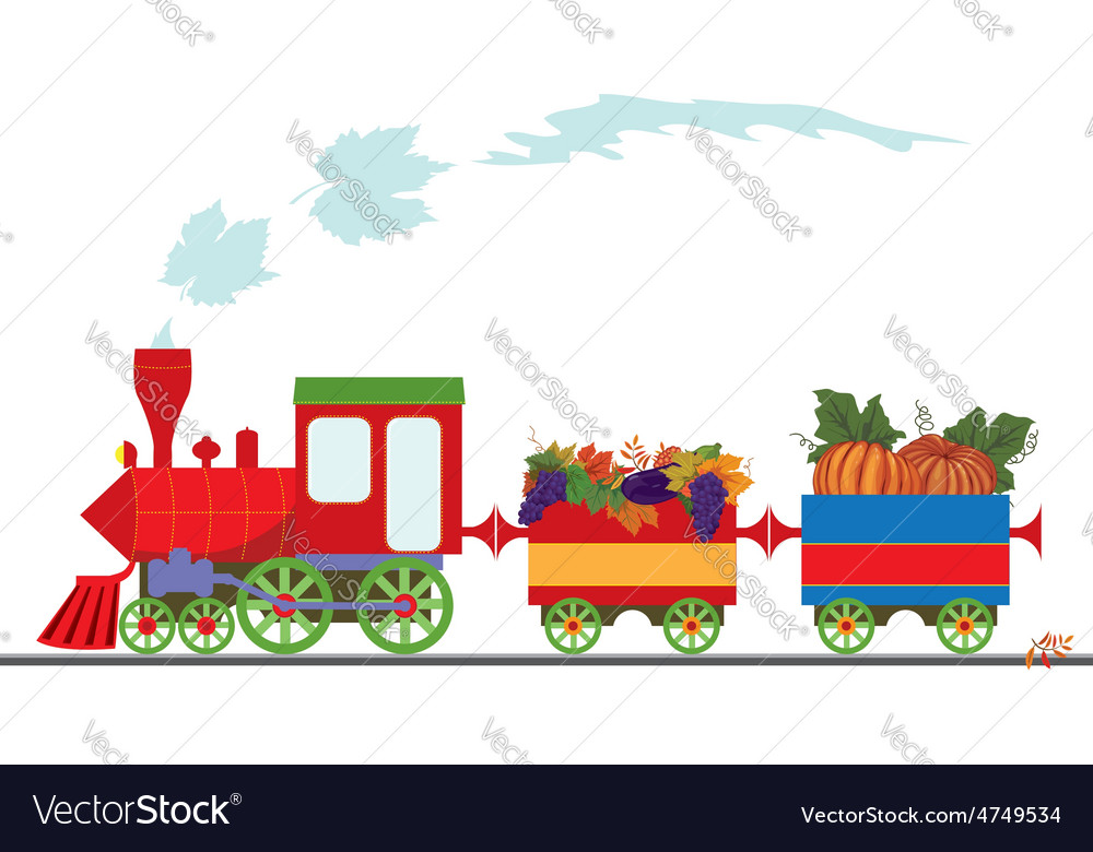 Autumnal retro locomotive vector