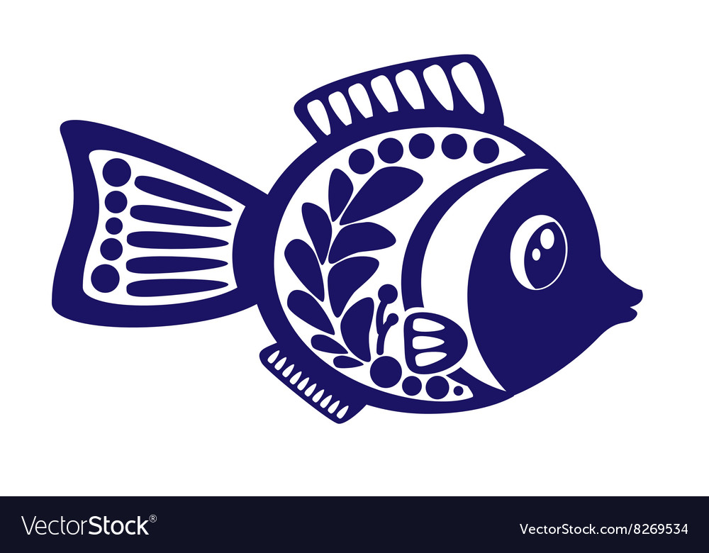 Isolated cartoon fish on white background vector