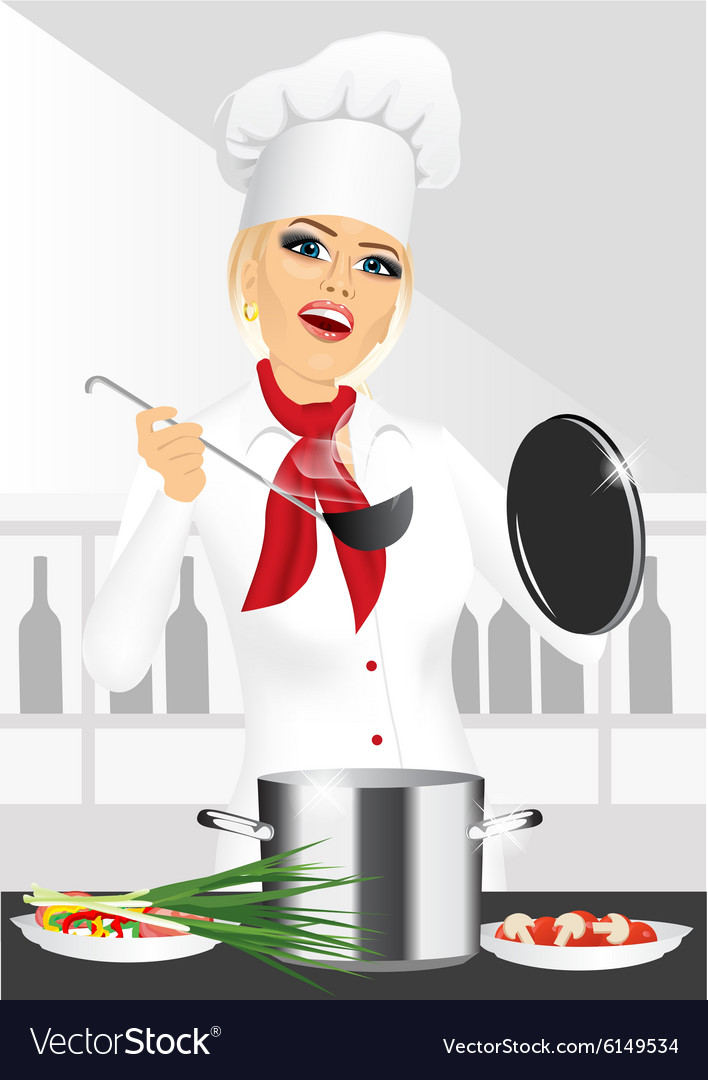 Smiling female chef cook or baker cooking vector