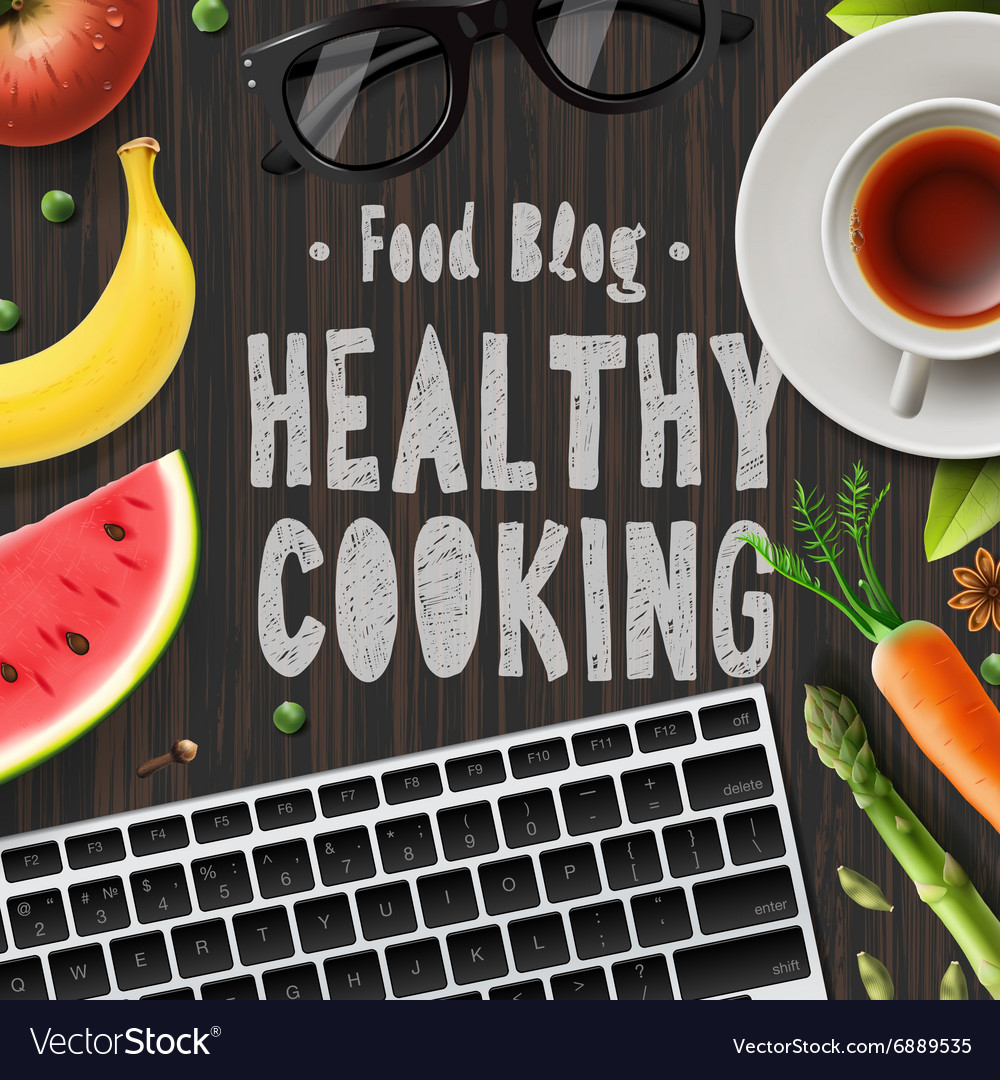 Food blog healthy cooking lifestyle vector
