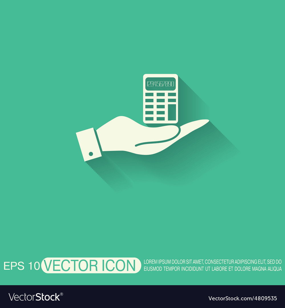 Hand holding a calculator vector
