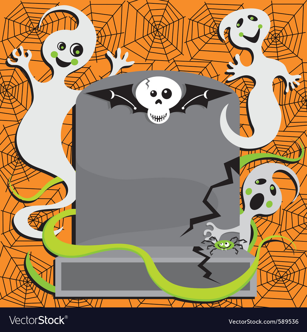 Halloween ghost invitation vector