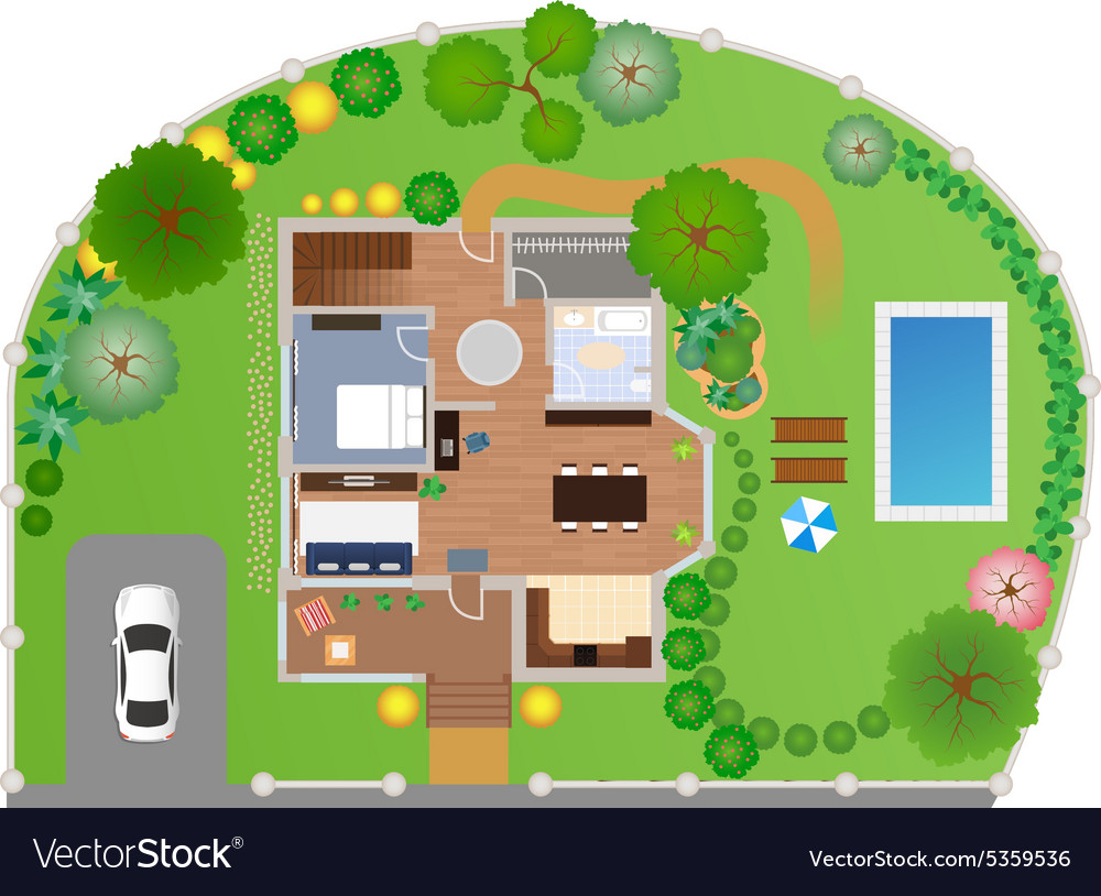 House with garden layout vector