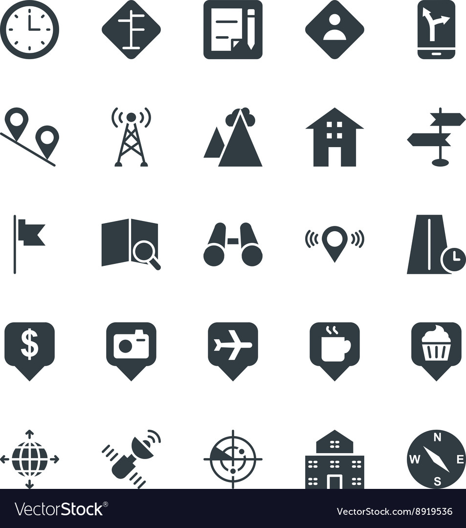 Map and navigation cool icons 3 vector