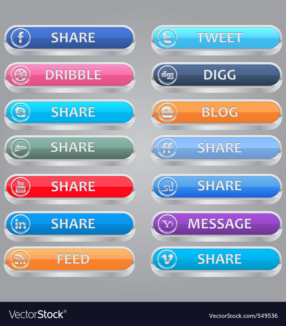 Share me social media buttons vector