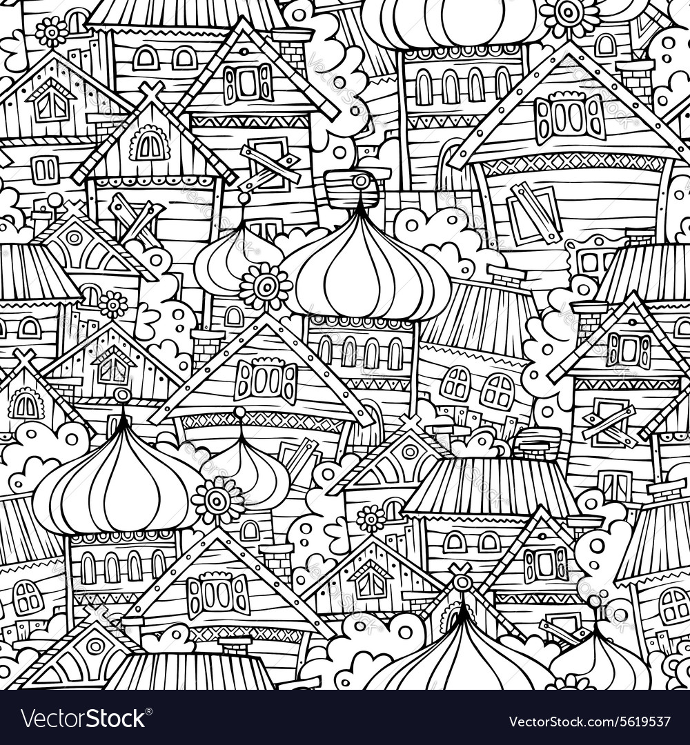 Cartoon fairy tale drawing russian village vector