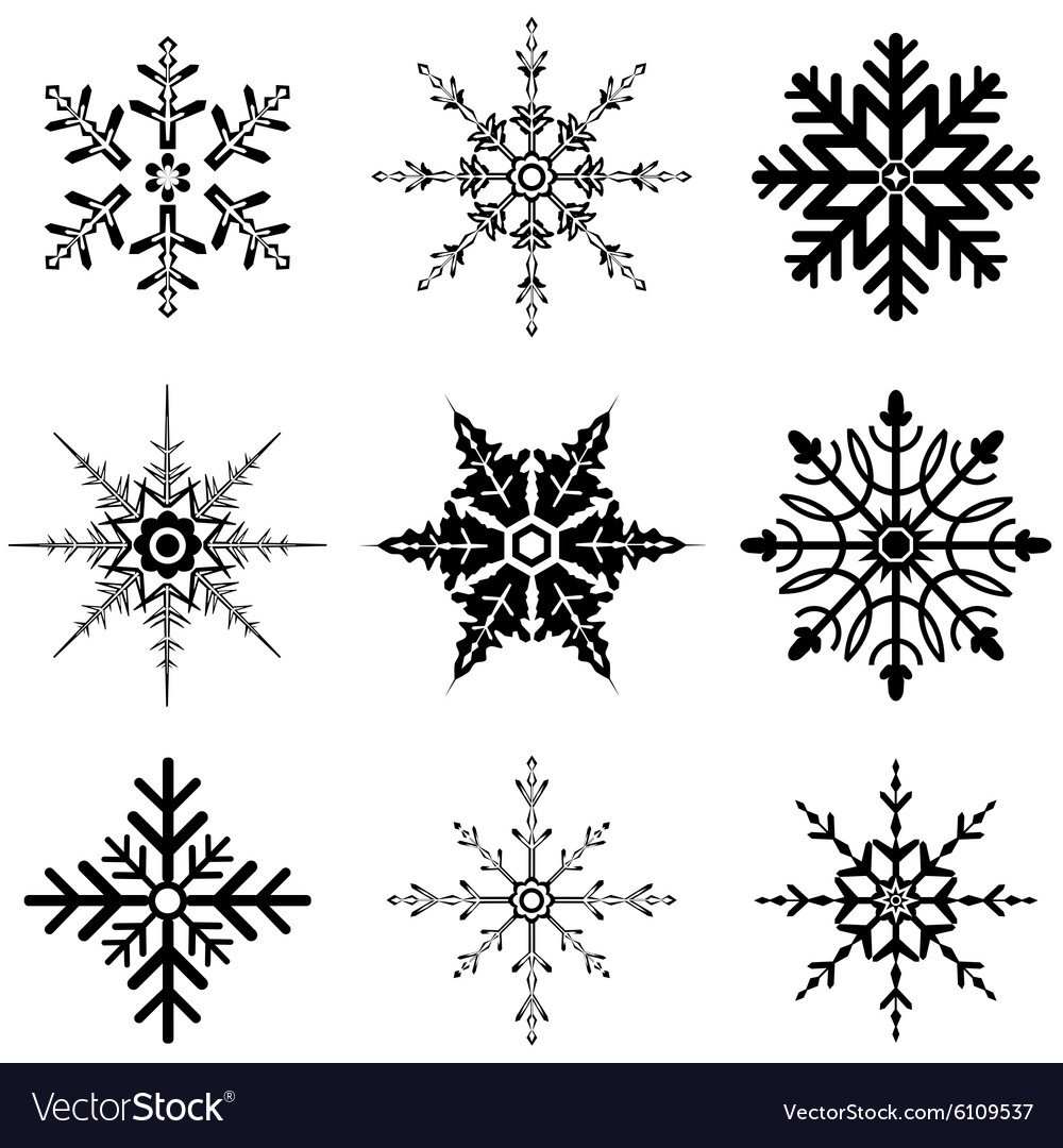 Snowflake designs for christmas vector