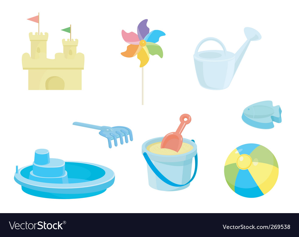 Beach toys icons set vector