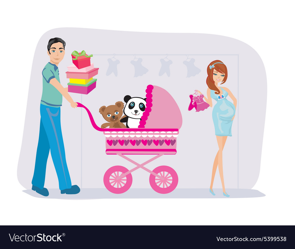 Beautiful pregnant woman and her husband on vector