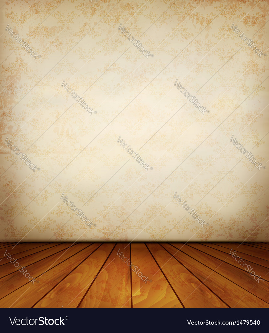 Old wall and a wooden floor vector