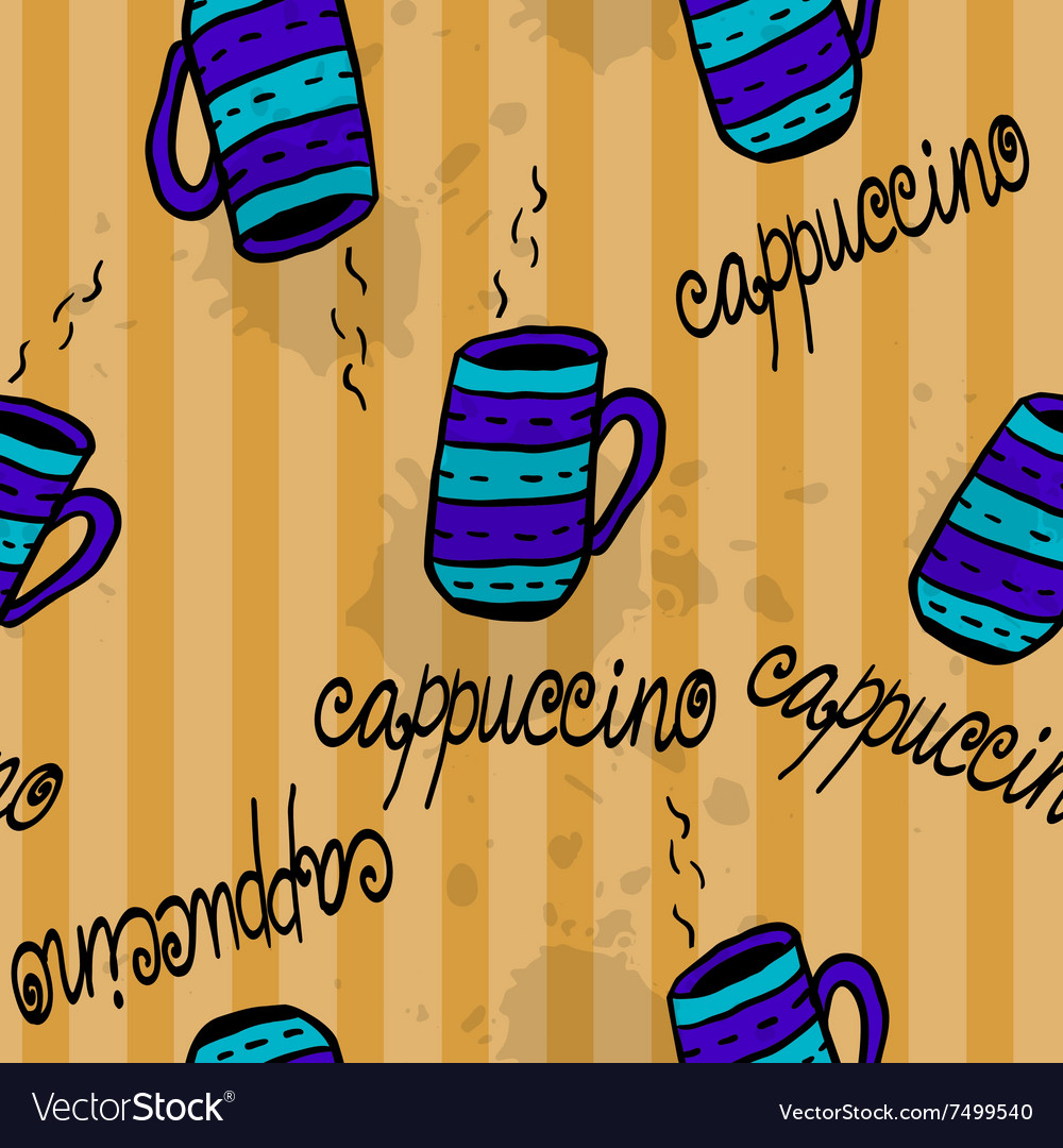 Seamless pattern with sketchy coffee cups vector