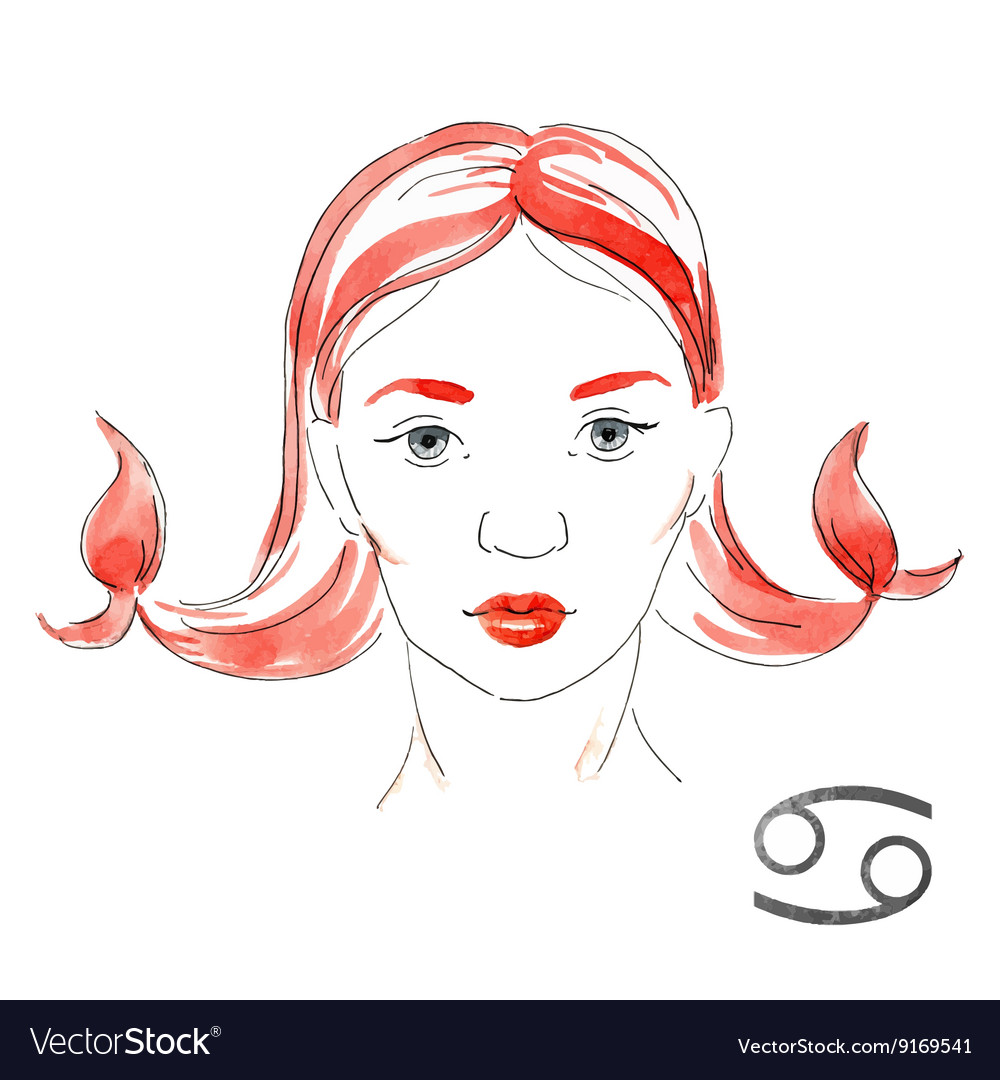 Watercolor cancer girl vector