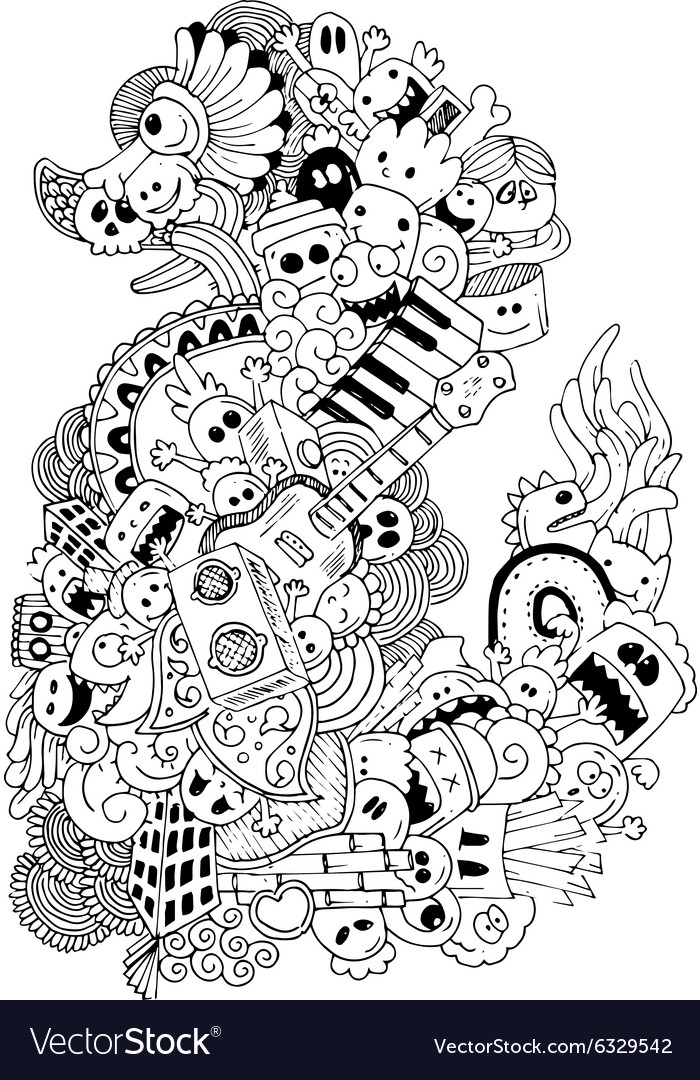 Monster and music cartoon handdrawn doodle vector