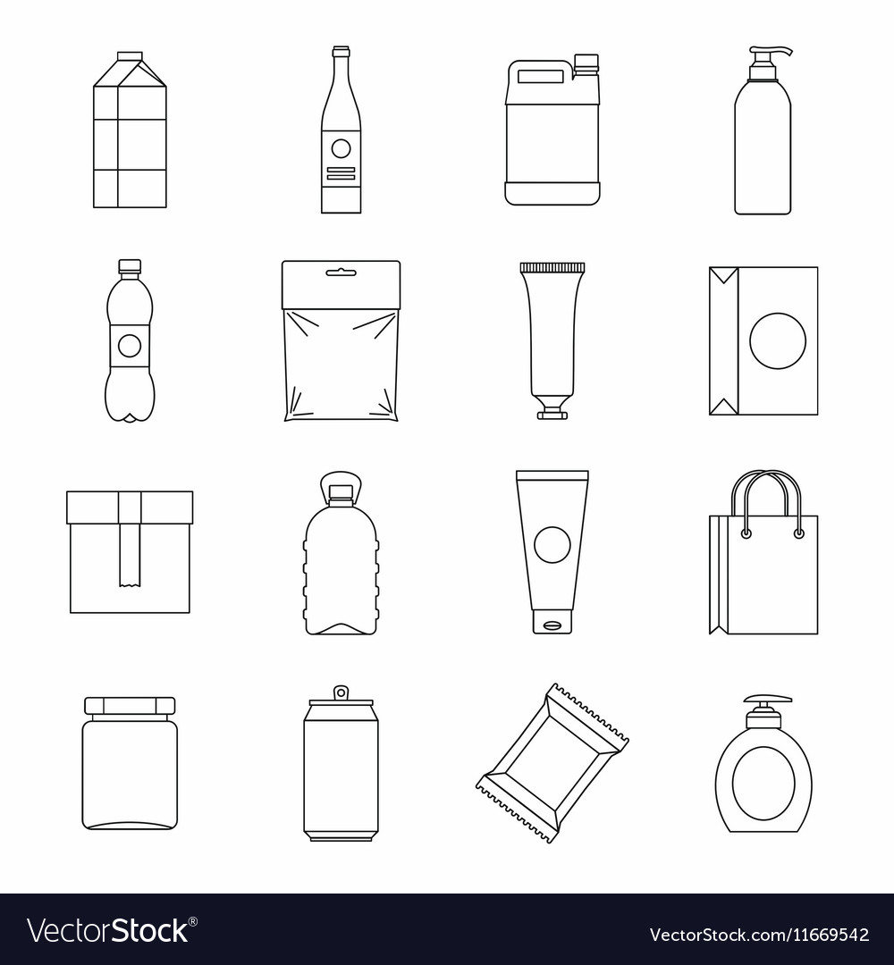 Packaging items icons set outline style vector