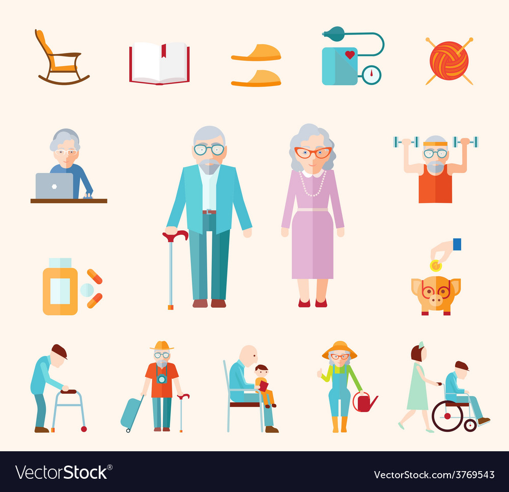 Senior lifestyle flat icons vector
