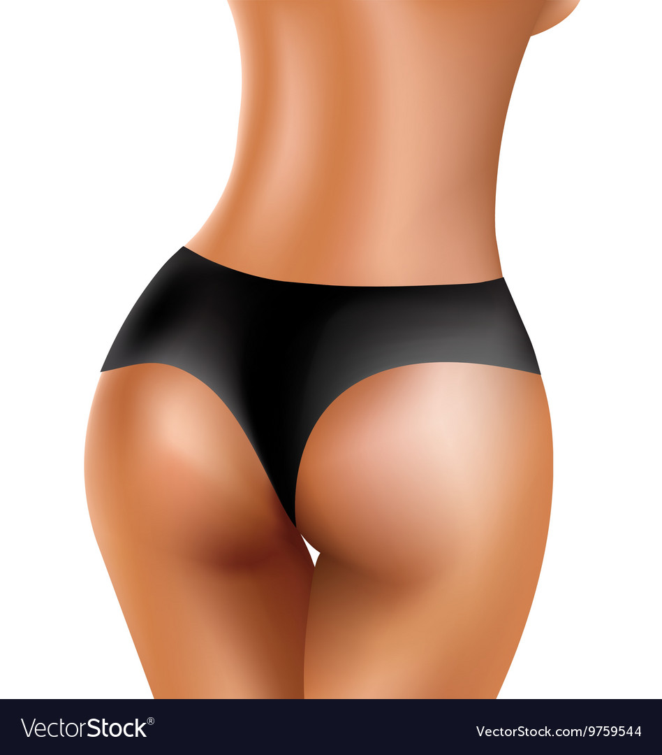 Perfect sexy buttocks of healthy women in black vector