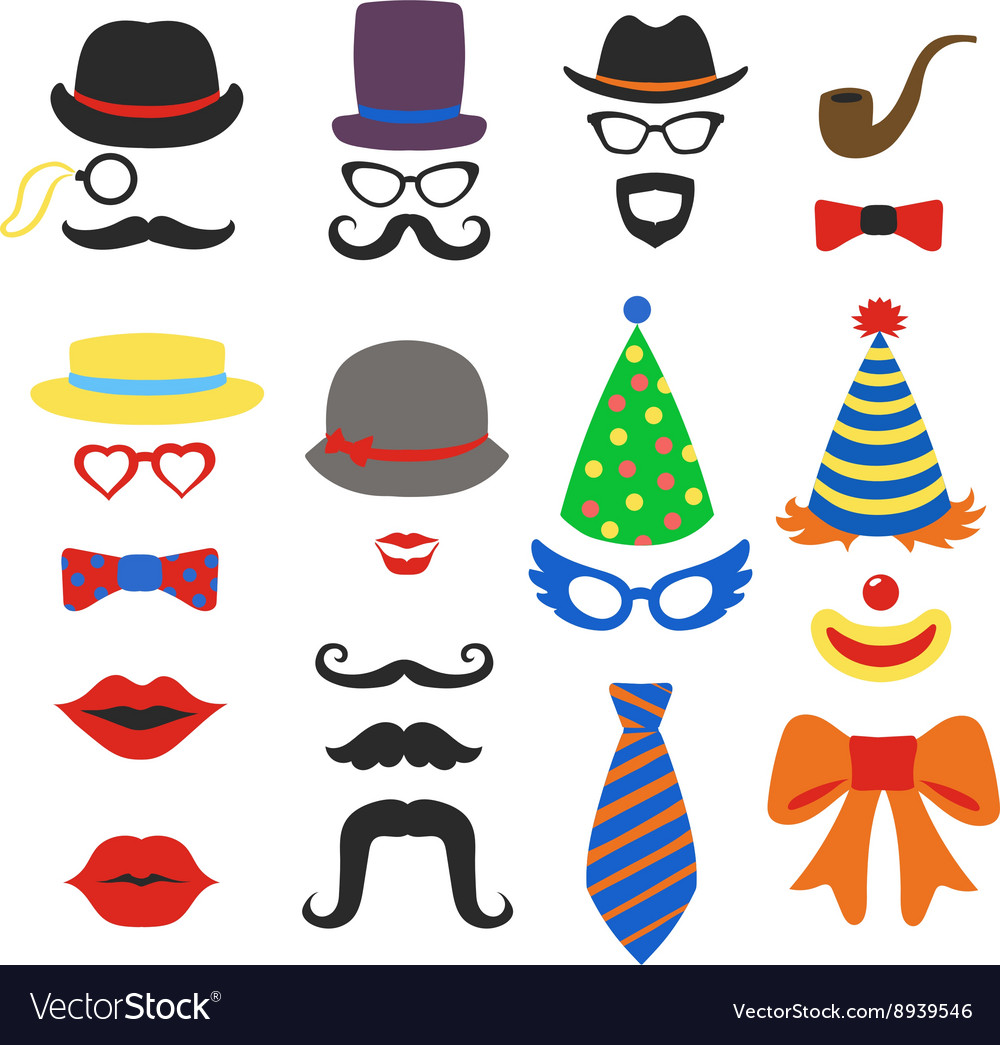 Birthday party photo booth props  glasses vector