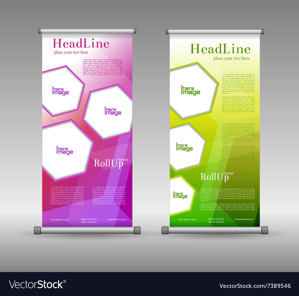 Modern roll up banner design 2 vector