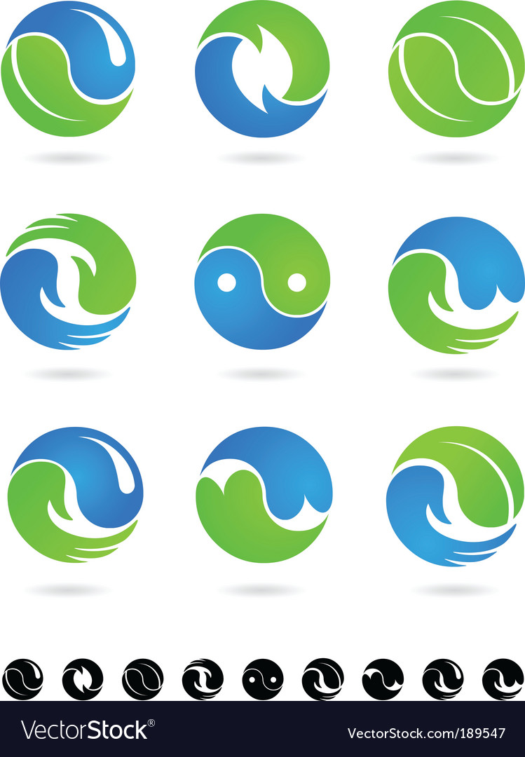 Yin yang icons and logos vector