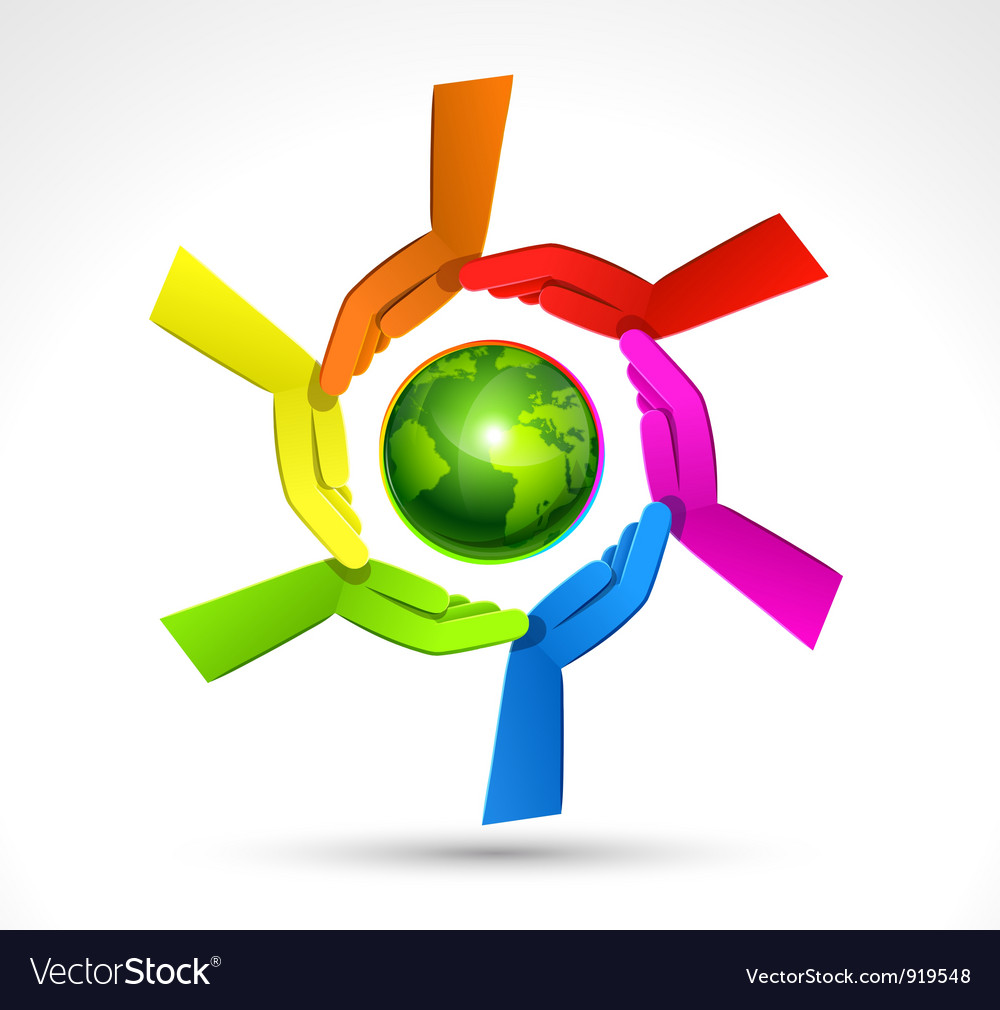 Color hands surrounding the earth globe vector